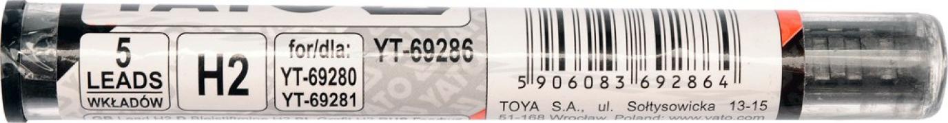 Tuha H2 do automatickej tesárskej ceruzky 5ks (YT-69286)