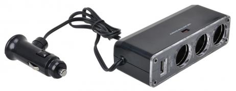 Roztrojka do zapaľovača 12V/24V S USB (AM-7519)