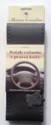 Kožený poťah volantu Mária Cavallo čierno-tmavošedý (0-1-1-1-1-1-1)