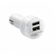 Dvojitá USB nabíjačka do autozapaľovača 12V/24V, biela (USB100W)