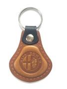 Kožená kľúčenka Alfa Romeo hnedá (AUTO123-925-395)