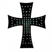 Dekorácia - svetelný kríž bielo/zelený 24V (98552)
