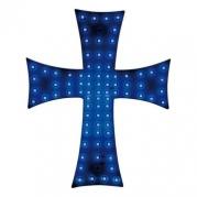 Dekorácia - svetelný kríž modrý 24V (96972)