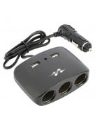 Roztrojka do zapaľovača s USB 12V čierna (MLS511B)